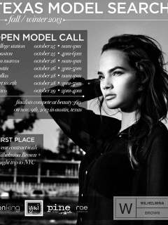 flyer for Wilhemina Brown model search