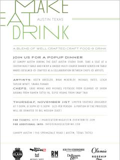 flyer for Make Eat Drink at Canopy for East Austin Studio Tour