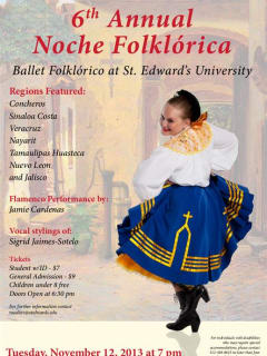 flyer for St. Edward's Sixth Annual Noche Folklorico 2013