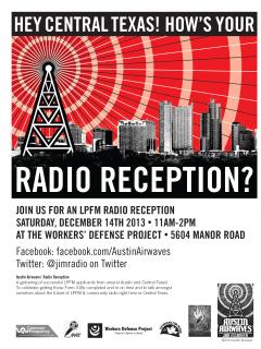 poster for Austin Airwaves LPFM Radio Reception