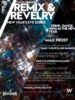 invite to Remix and Revelry new year's eve party at W Austin