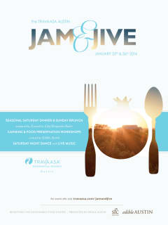 flyer for Travaasa Austin Jam & Jive weekend dinner and brunch