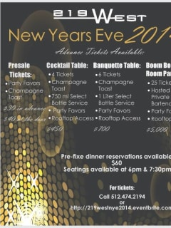 flyer for New years eve at 219 west