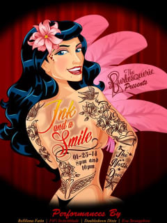 poster for The Burlesquerie show Ink and a Smile burlesque