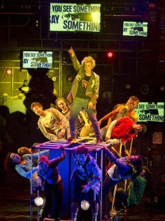 Andrew Humann and cast in Broadway musical American Idiot