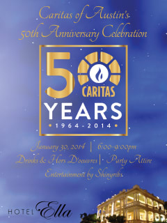 flyer for the Caritas of Austin 50th anniversary celebration