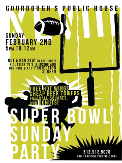 poster for Gourdough's Super bowl watch party 2014