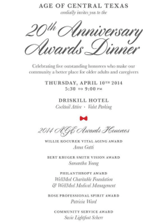 invitation to 20th annual AGE awards dinner