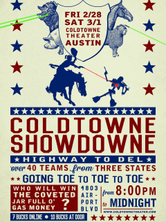 poster for the first ColdTowne ShowDowne Tri-State Improv Tournament 2014