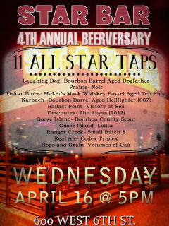 poster for Star Bar fourth annual beerversary party