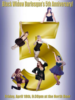 poster for Black Widow Burlesque's Five year anniversary