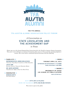 invite to seventh annual 2014 TFA Policy Forum