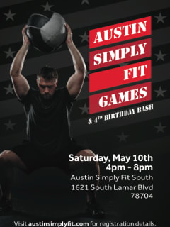 poster for Austin Simply Fit Games and birthday blowout
