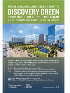 """Pier & Beam hosts """"Future Landmark Sunset Series: a Toast to Discovery Green"""""""