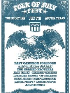 poster for Folk of July Fest 2014 at Scoot Inn