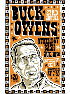 poster Buck Owens birthday bash at continental club for HAAM