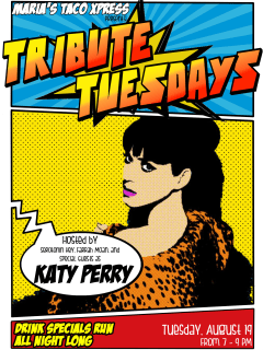 poster Tribute Tuesday Katy Perry Edition at Maria's Taco Xpress