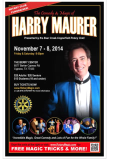 """""""An Evening of Comedy and Magic at the Berry Center"""" benefiting Bear Creek-Copperfield Rotary Club"""