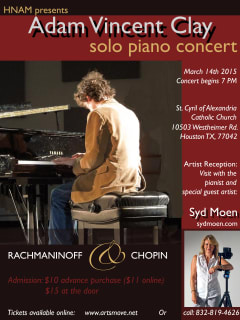 Houston New Arts Movement pianist Adam Vincent Clay in music of Rachmaninoff and Chopin