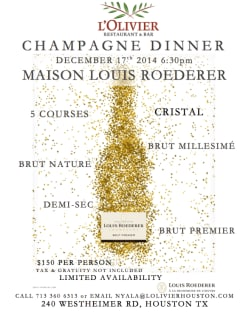 Maison Louis Roederer Champagne Dinner at L'Olivier Restaurant and Bar