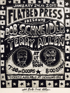 Flatbed Press and Gallery_25th anniversary concert_Bob Schneider_Terry Allen_2015
