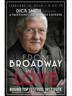 """Valentine's Day Concert with Dick Smith and Friends: """"From Broadway With Love"""""""