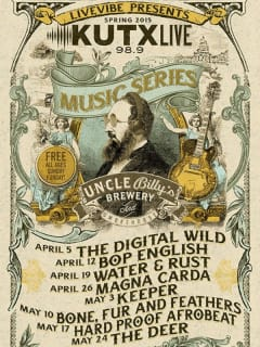 KUTX Live Free Music Series at Uncle Billy's_poster CROPPED_spring 2015