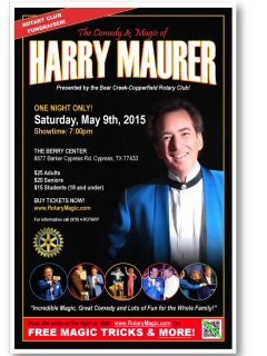 """The Comedy & Magic of Harry Maurer"" benefiting Bear Creek-Copperfield Rotary"