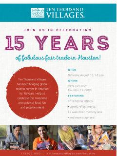 Ten Thousand Villages 15th Anniversary Celebration