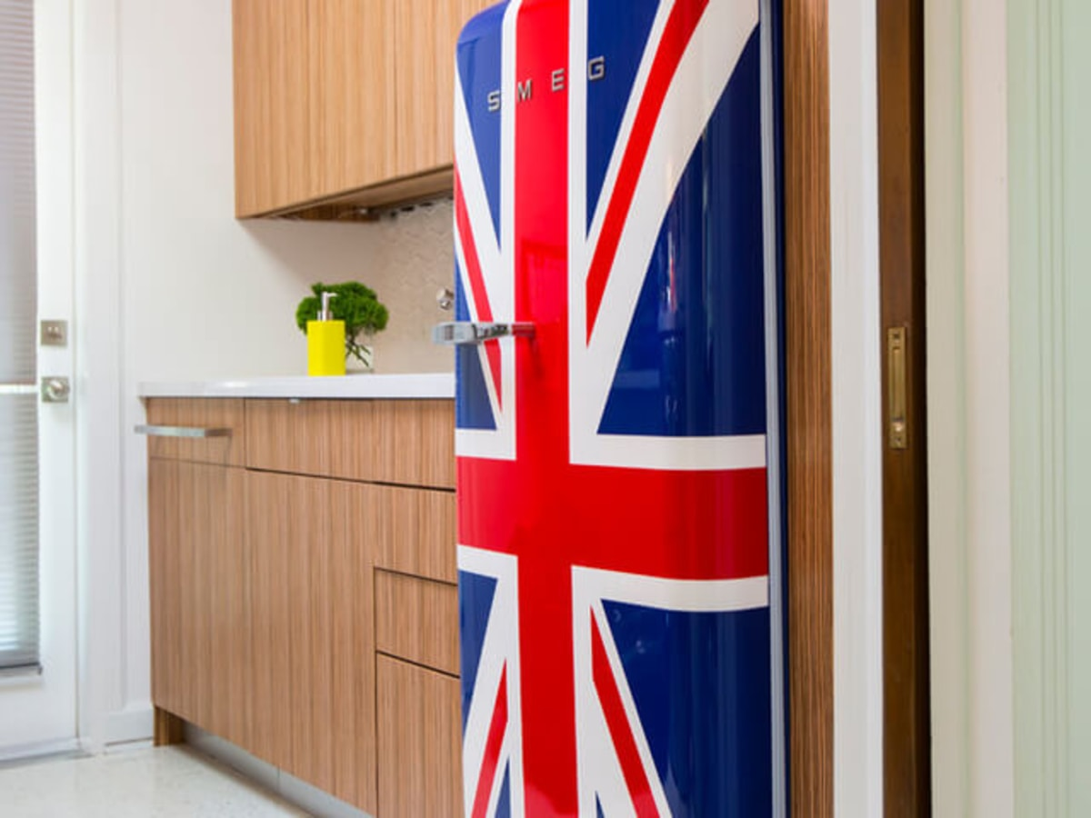 Houzz Houston house home 1960s London Texas style kitchen Union Jack refrigerator fridge