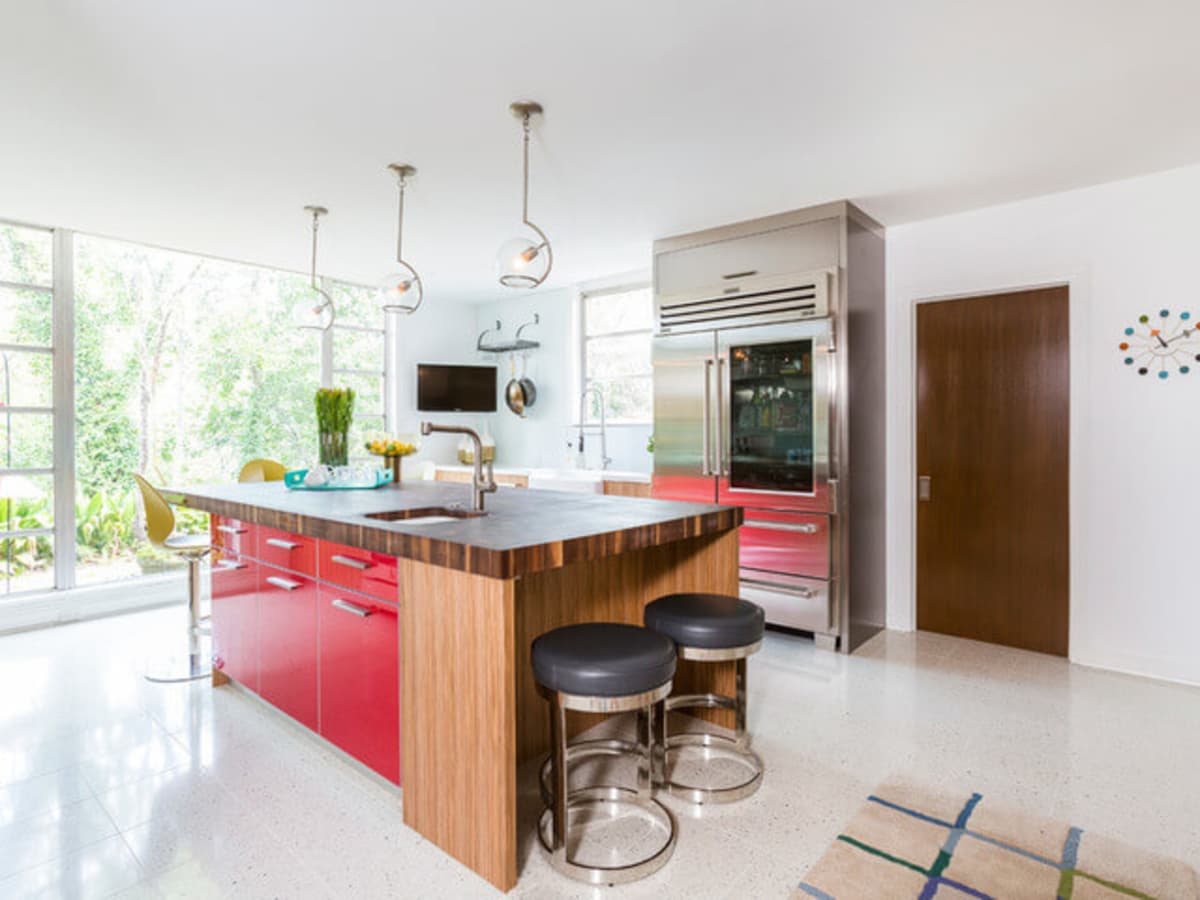 Houzz Houston house home 1960s London Texas style kitchen midcentury modern
