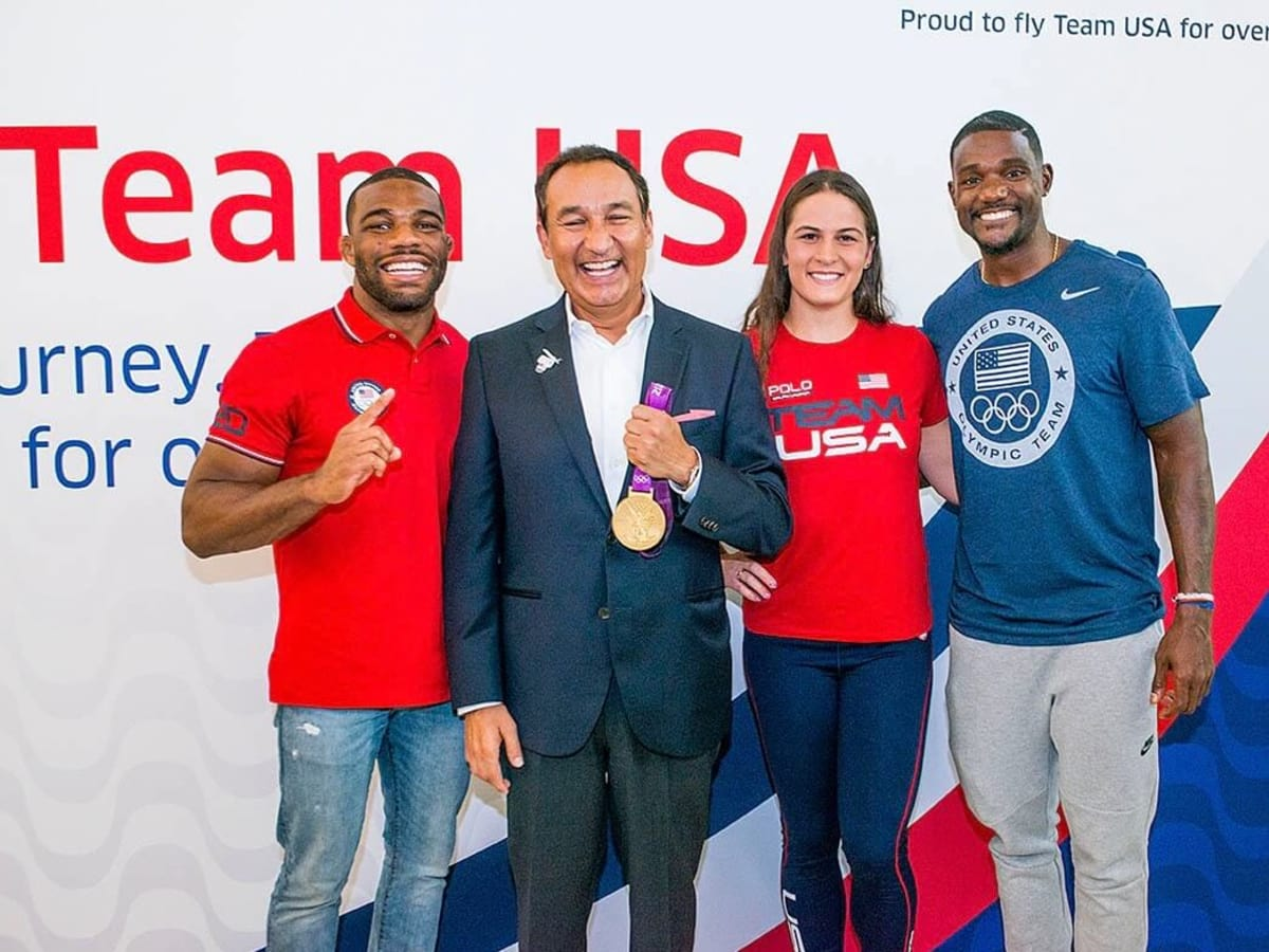 United Airlines sendoff for Olympic athletes to Rio, Oscar Munoz