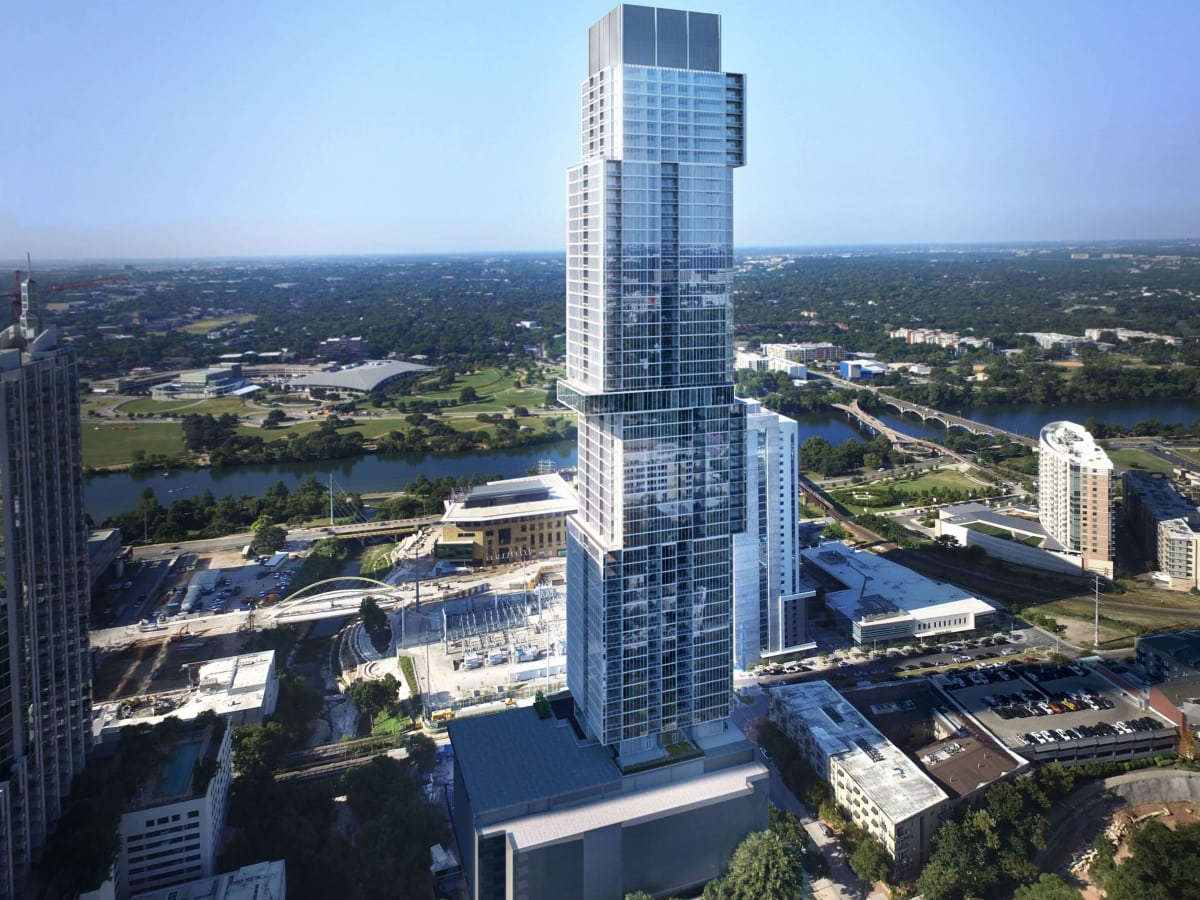 The Independent jenga tower downtown Austin skyline landscape