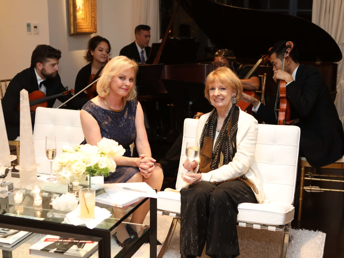 Houston, Cynthia and Anthony Petrello cocktail reception for Tommy Tune, Nov. 2016, Karen Bradshaw, Sandy Godfrey