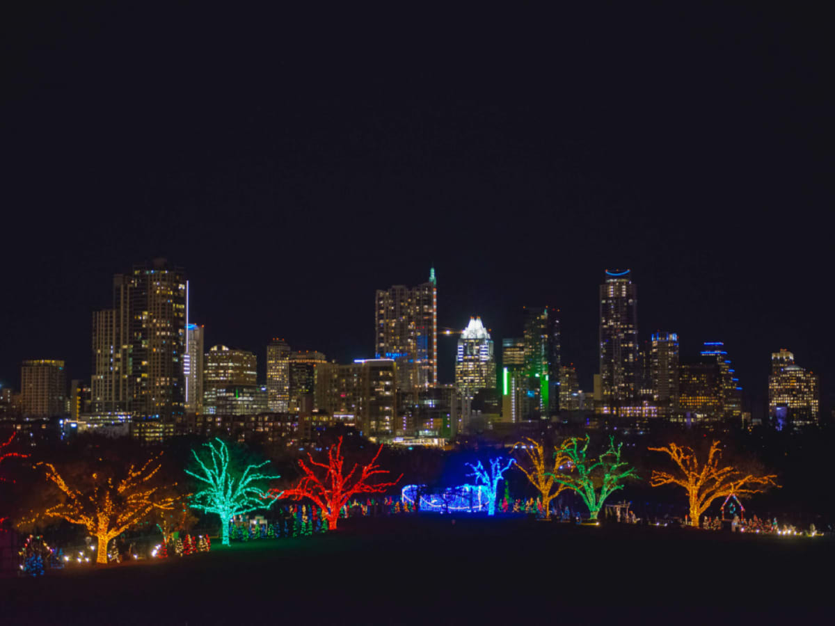 Trail of Lights Austin skyline