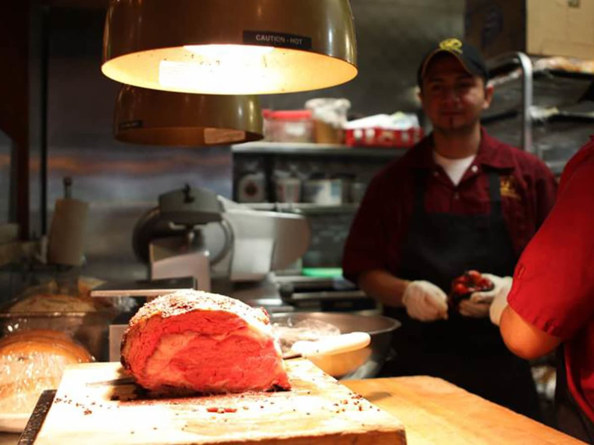 Laurenzo's Prime Rib chunk of meat in kitchen
