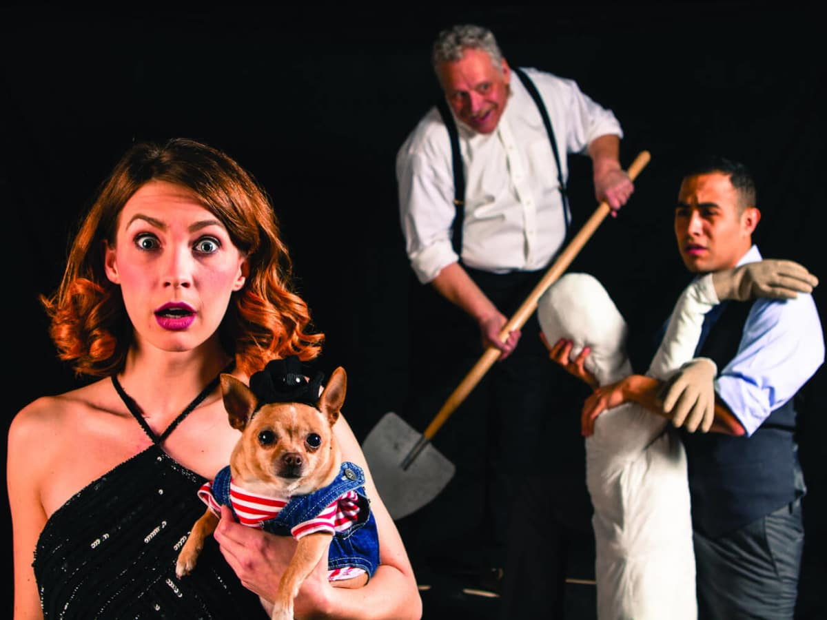 Debbie Crawford, Bradley Campbell and Magdiel Carmona in Laugh at Theatre Three