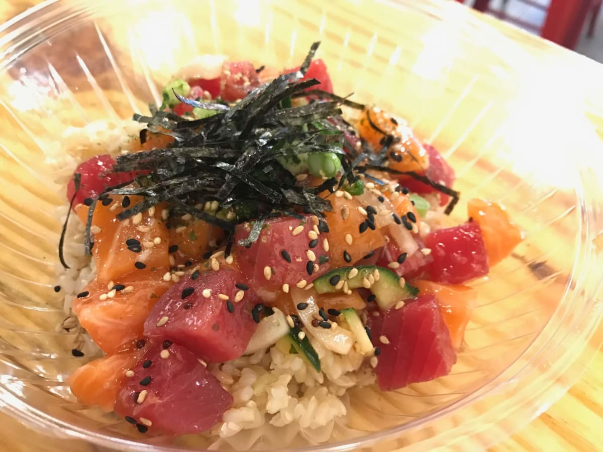 Ono poke tuna and salmon bowl