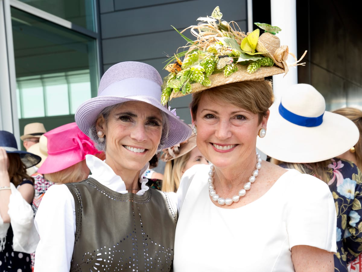 Houston, hats in the park, April 2017, Judy Nyquist, Cece Fowler.