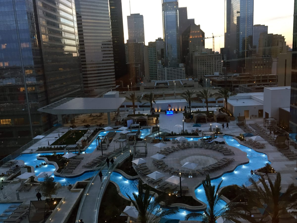 Houston, Marriott Marquis grand opening party, April 2017, Texas-shaped lazy river pool
