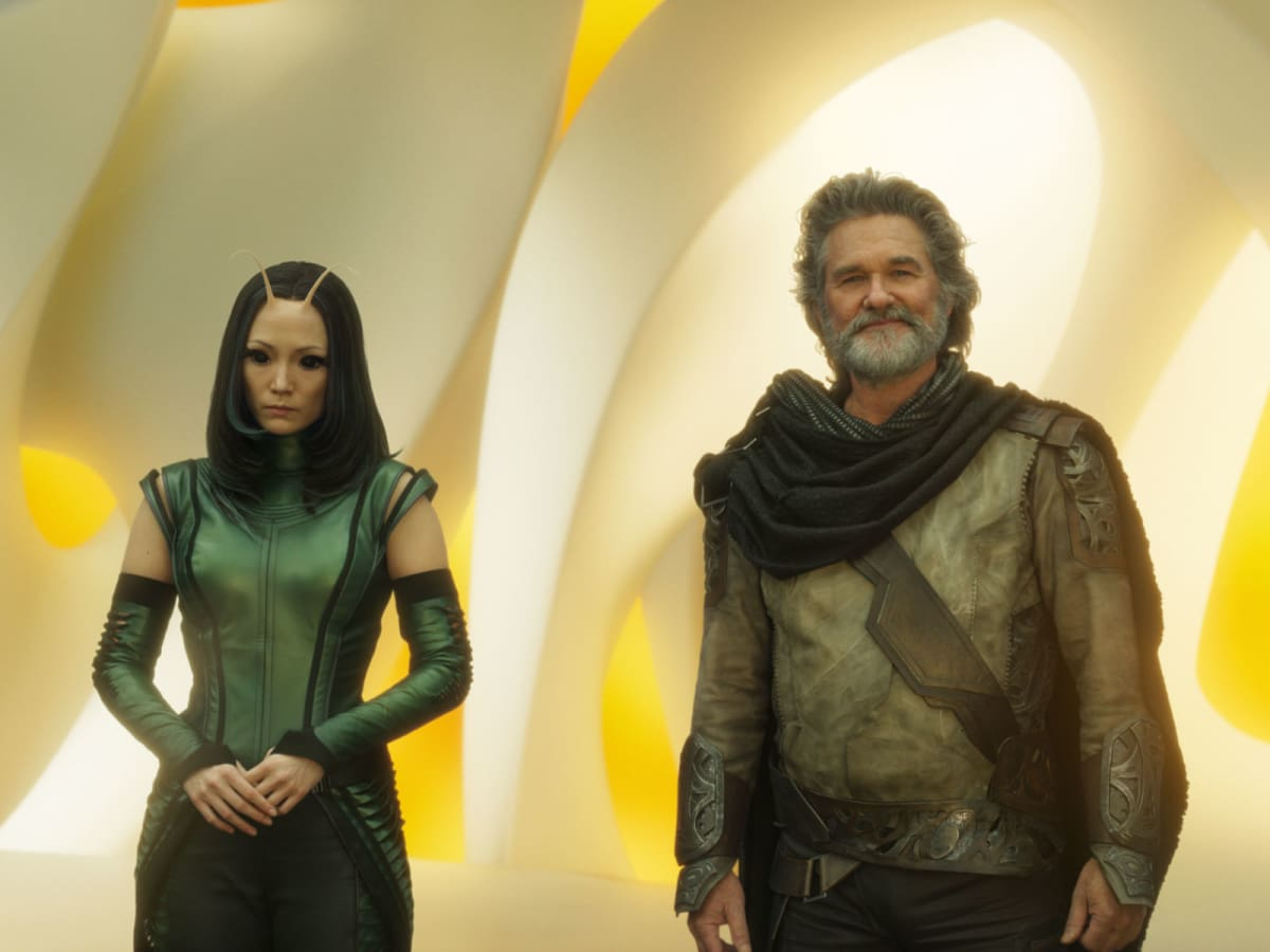 Pom Klementieff and Kurt Russell in Guardians of the Galaxy, Vol. 2