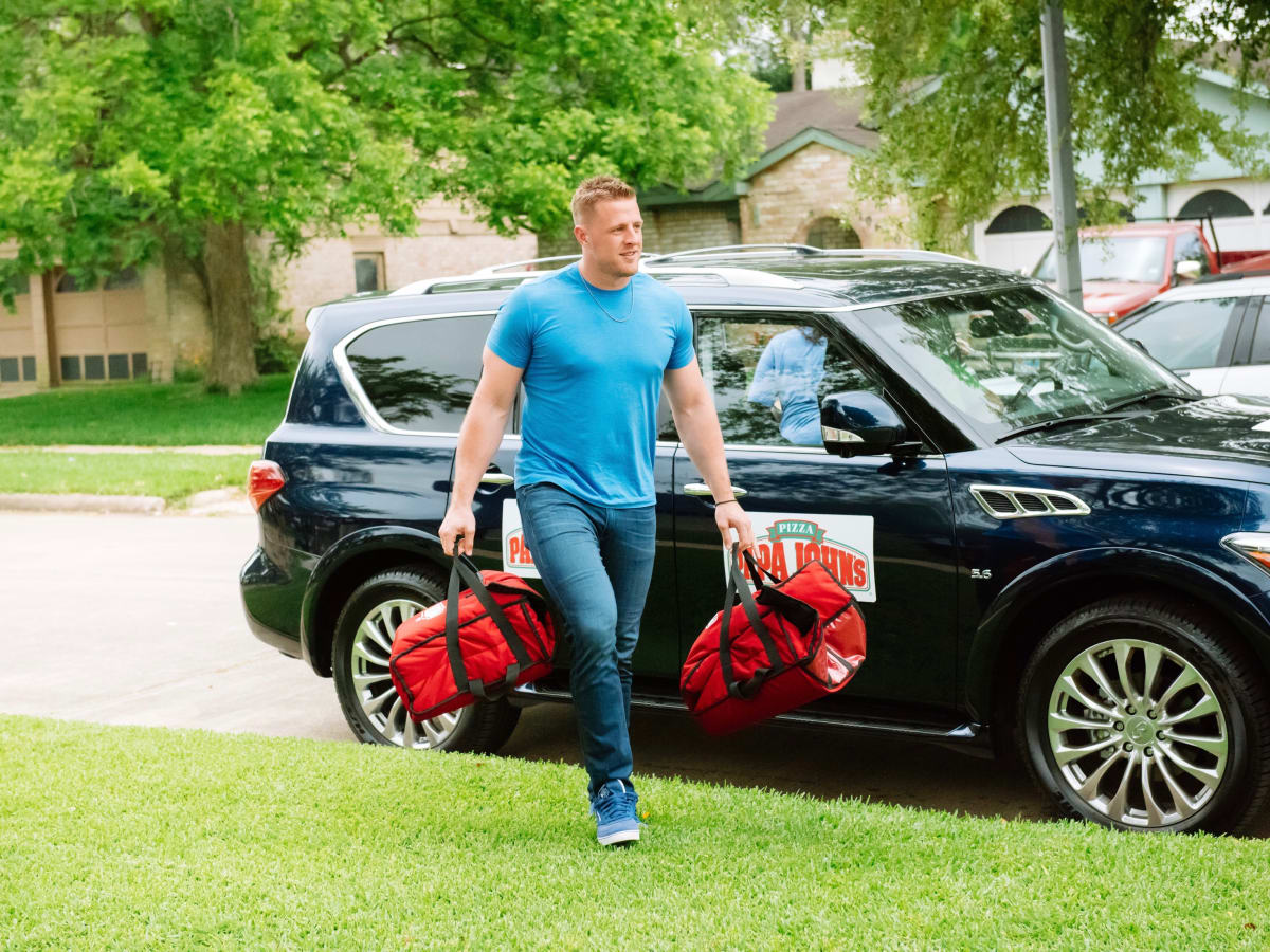 J.J. Watt delivers pizza to home of Wayne Lominac part of Papa John's promotion