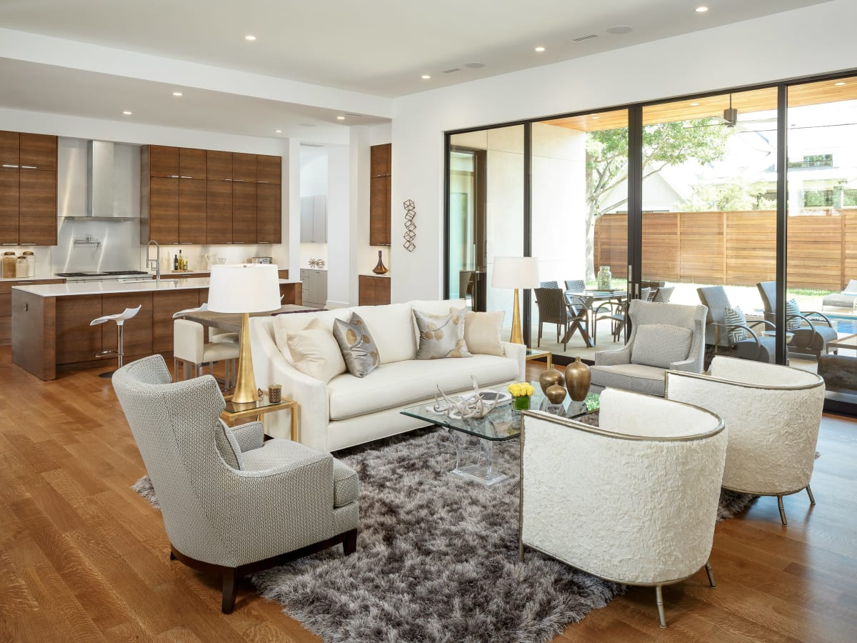 Living room at 5746 Greenbriar in Dallas