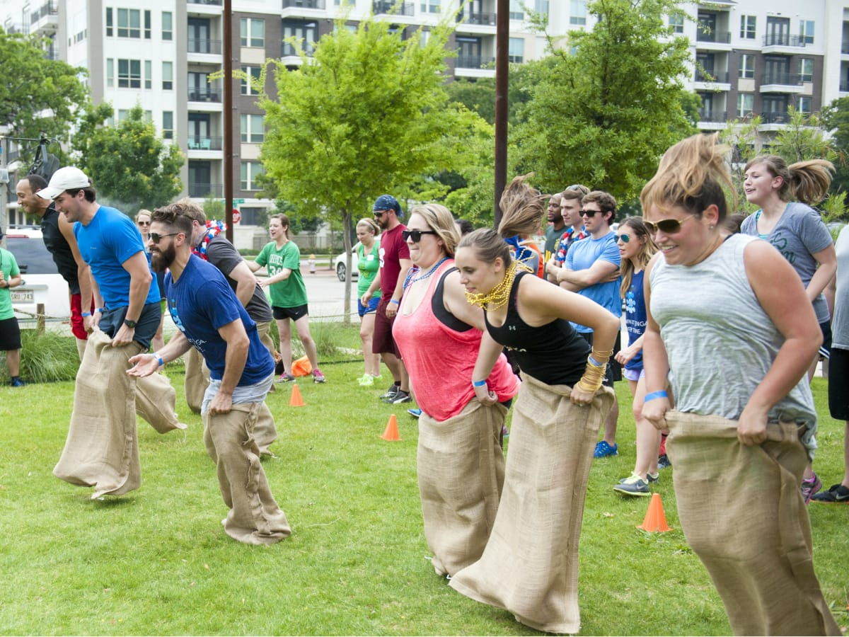 Potato sack race at YCPD Field Day 2016