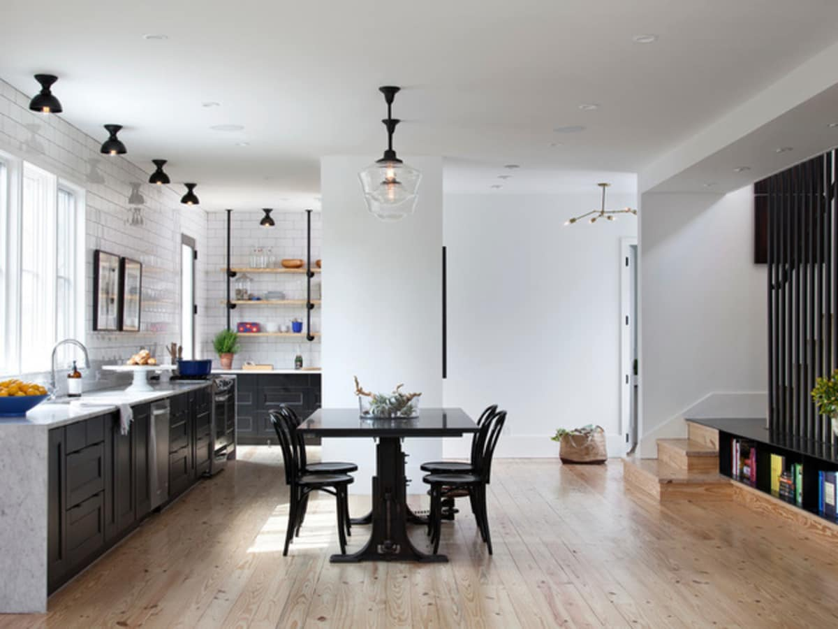 Houzz Austin home house modern Texas farmhouse kitchen dining room