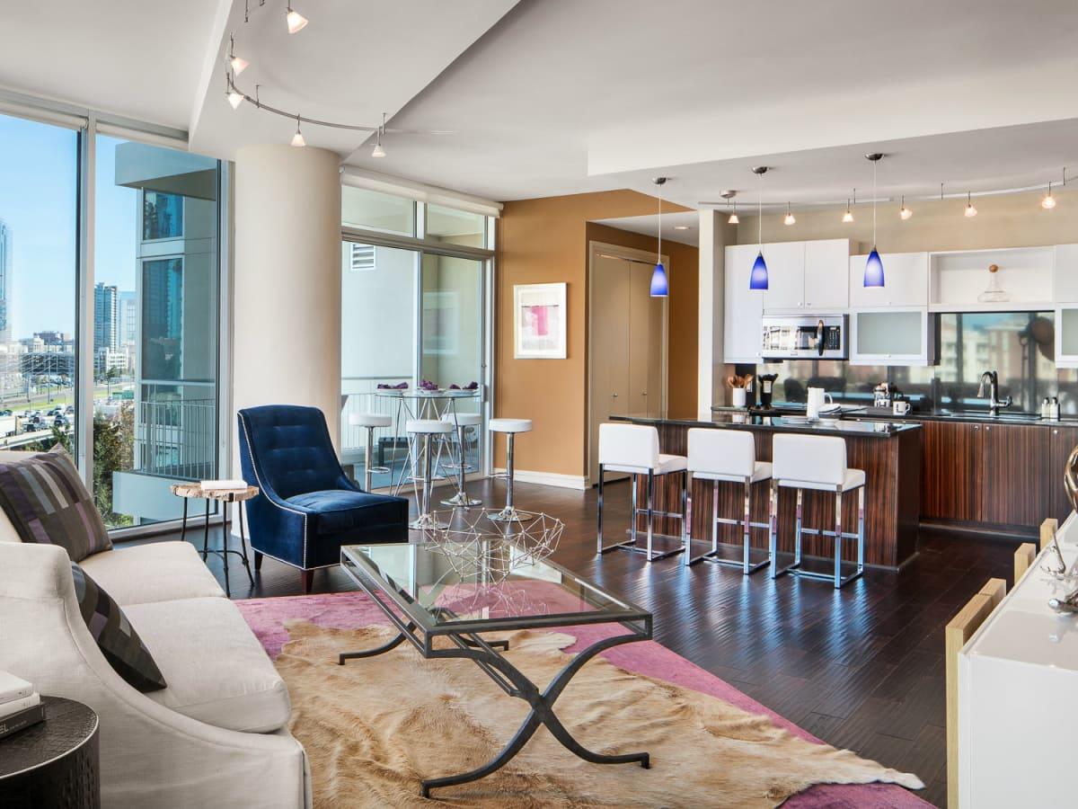 Living room at AMLI Design District in Dallas