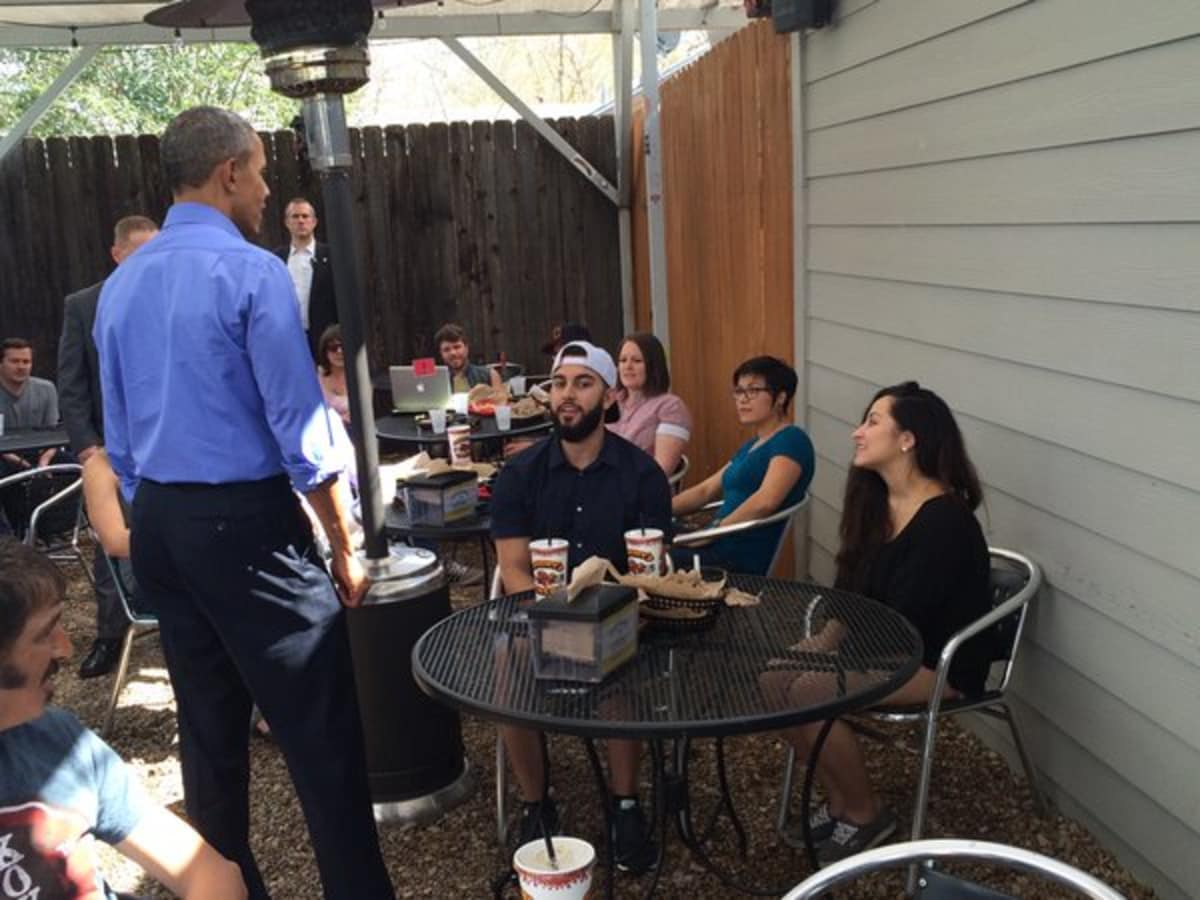 President Barack Obama Torchy's Tacos South First order March 11 2016