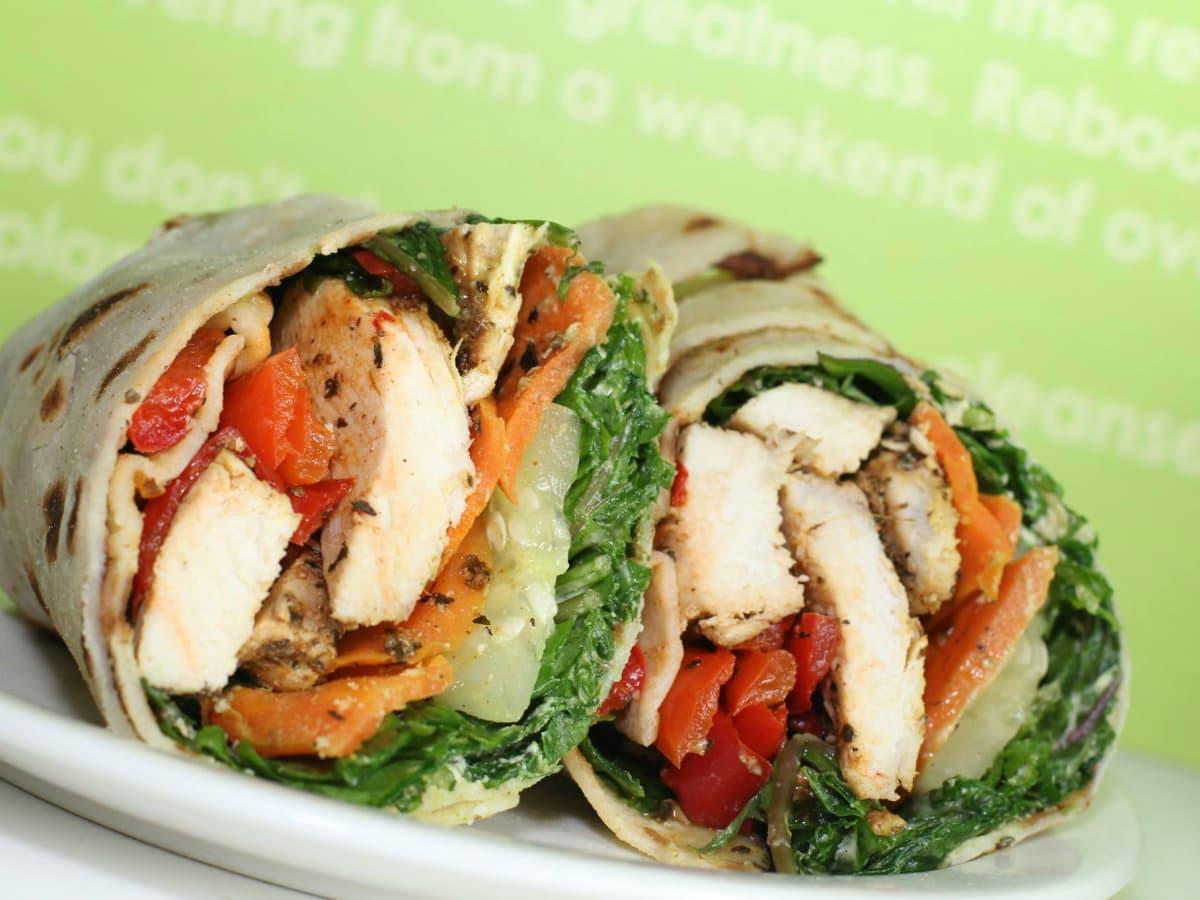 Daily Juice Cafe restaurant chicken wrap