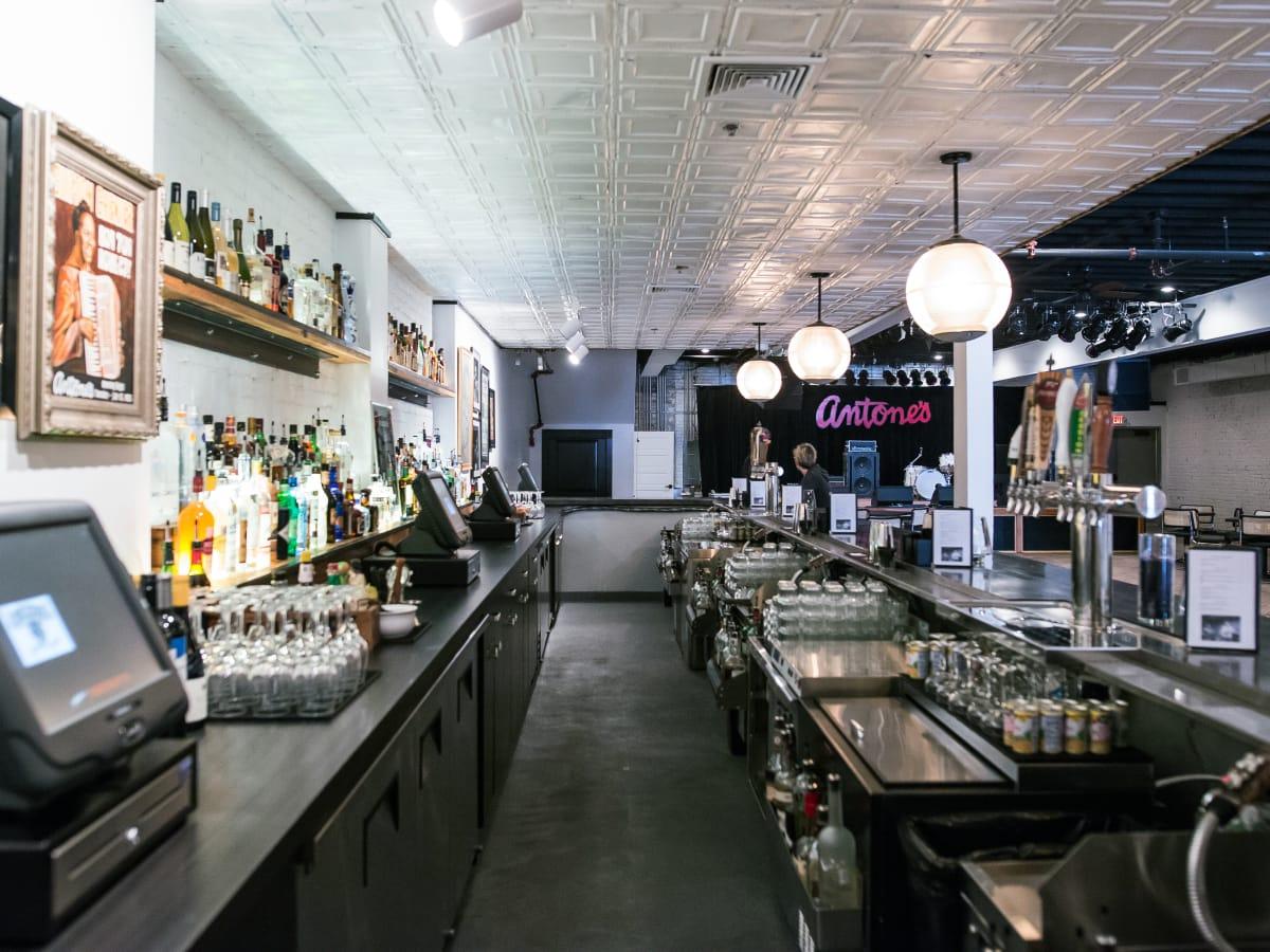 Antone's downtown venue Fifth Street 2016 bar back behind