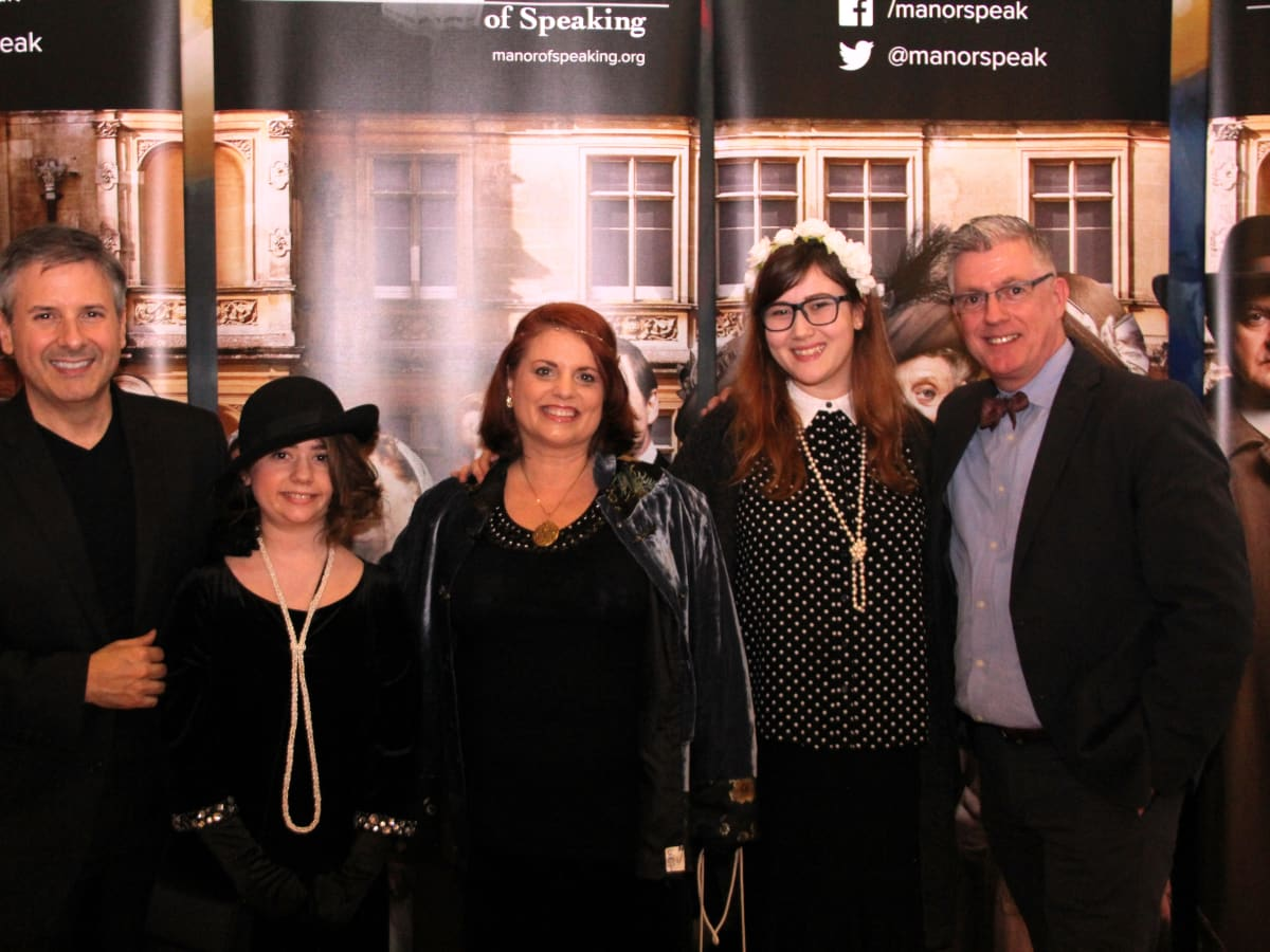 D͞ownton Abbey Manor of Speaking͟ Ernie Manouse and St.John Flynn pose with costume contestants at the Downton Abbey season 6 premiere in The Woodlands.